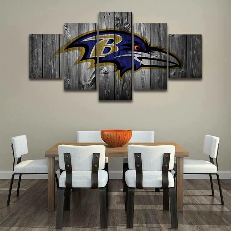 Baltimore Ravens Football Team - 5 Panel Canvas Print Wall Art Set