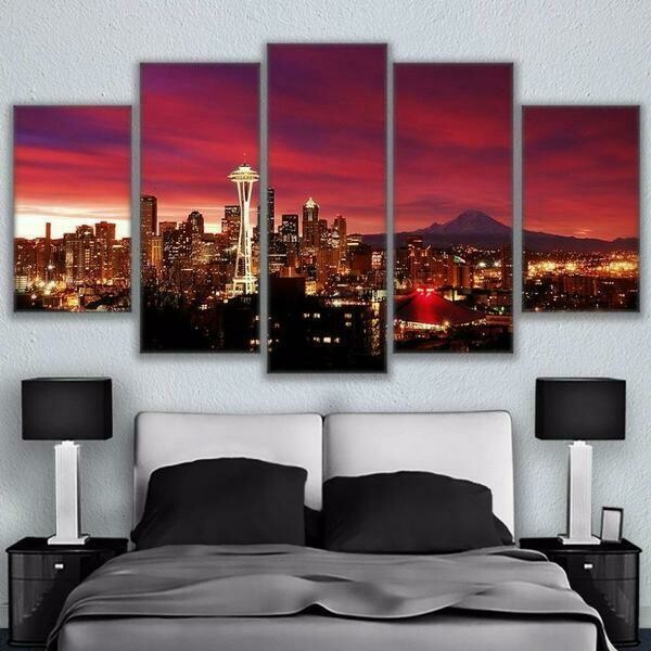 Seattle Skyline View - 5 Panel Canvas Print Wall Art Set