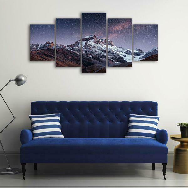 Snowy Mountain Peak - 5 Panel Canvas Print Wall Art Set