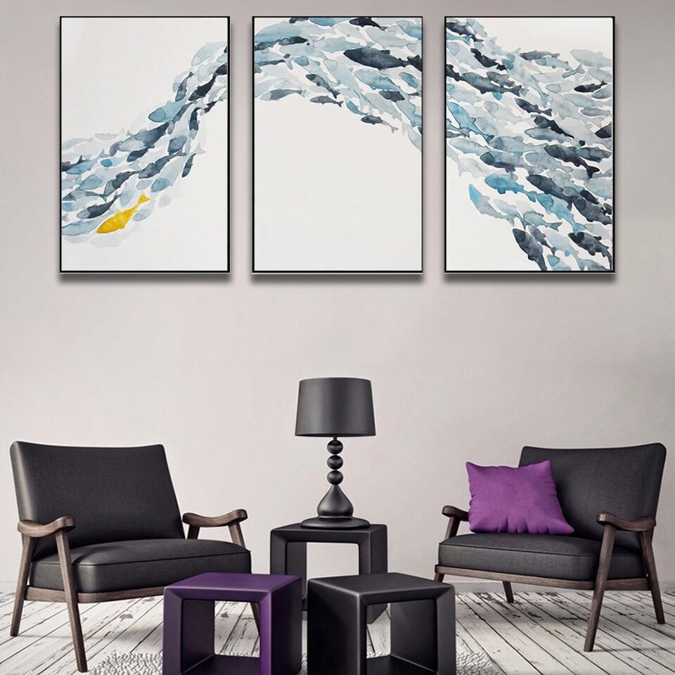 Abstract Fish Group Minimalis Canvas Wall Art