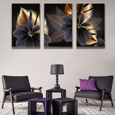 Abstract Flower Leaves Canvas Wall Art