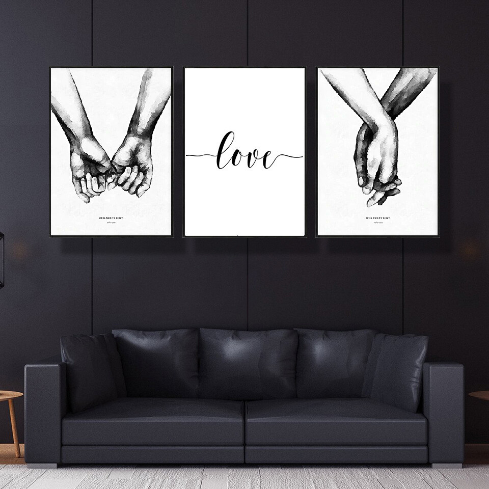 White Background Sweet Love Canvas Wall Art