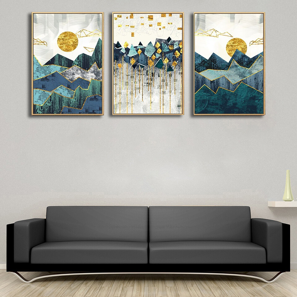 Abstract Geometric Mountain Landscape Canvas Wall Art