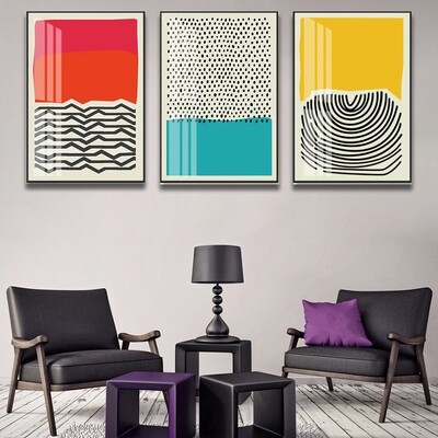 Abstract Line Geometric Canvas Wall Art