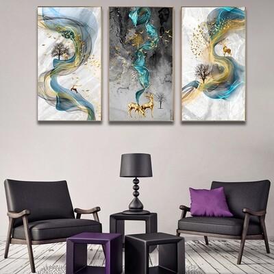 Abstract Golden Deer Canvas Wall Art