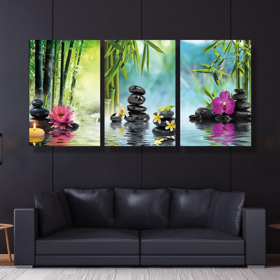 Stone Green Bamboo Pink Canvas Wall Art