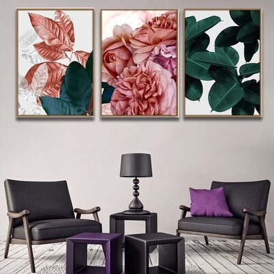 Abstract Pink Flowers Green Plants Leaves Canvas Wall Art