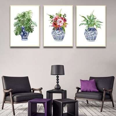 Chinese Blue White Porcelain Canvas Wall Art