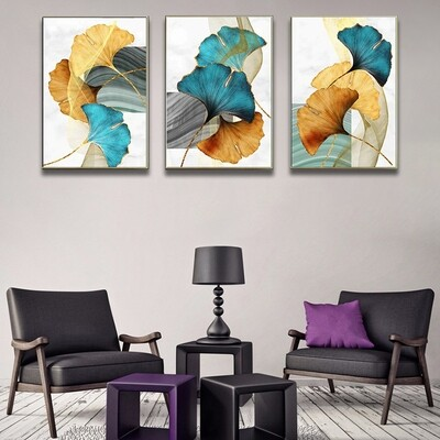 Abstract Plant Leaf Drawing Canvas Wall Art