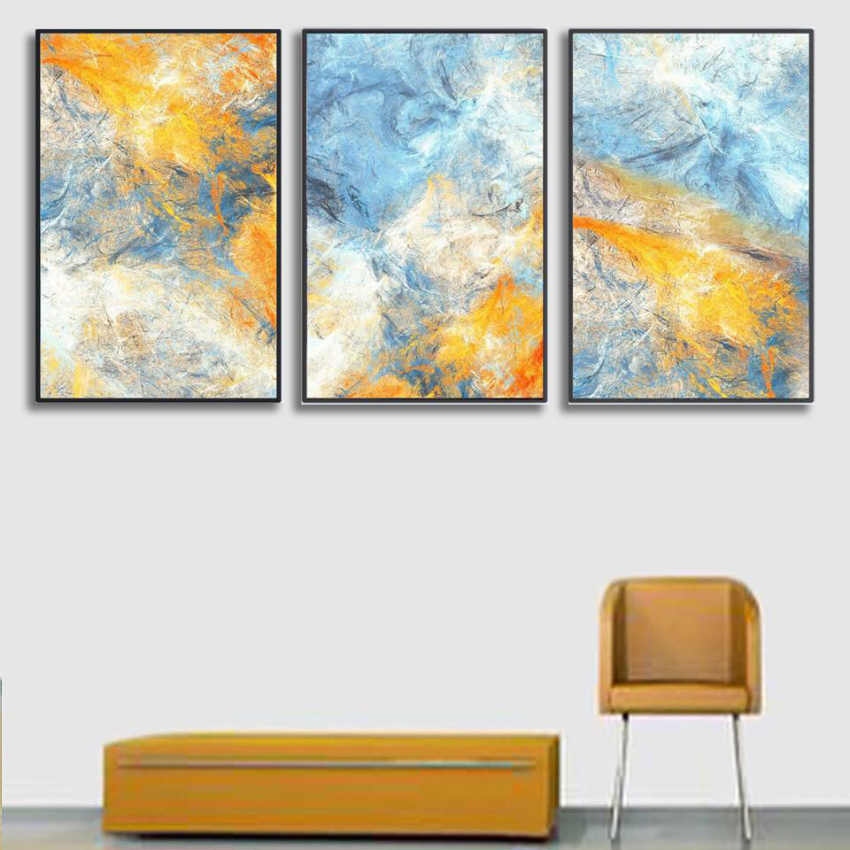 Abstract Blue Canvas Wall Art