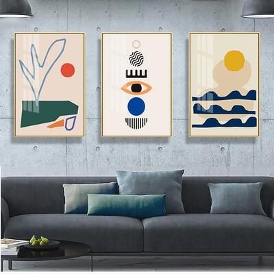 Geometric Abstract Scene Canvas Wall Art