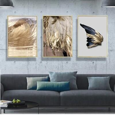 Golden Feather Canvas Wall Art
