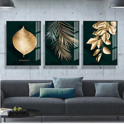 Golden Plant Leaves Abstract Canvas Wall Art