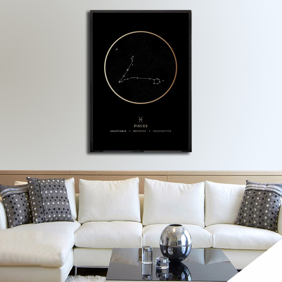 Pisces Traits Gold Canvas Wall Art