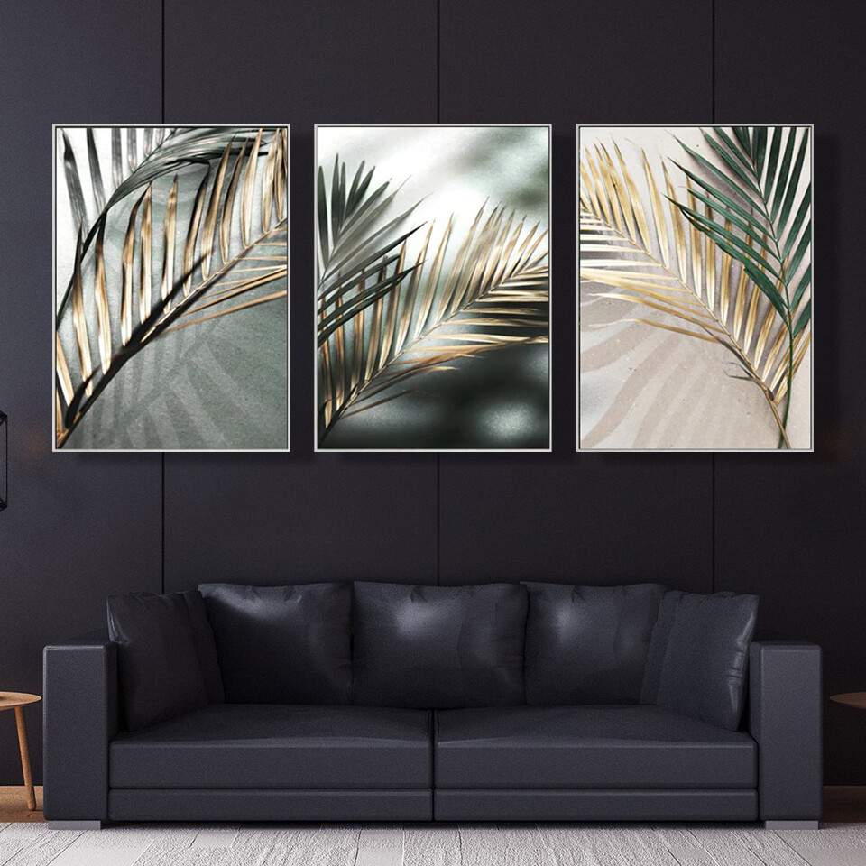 Golden Palm Leaf Canvas Wall Art