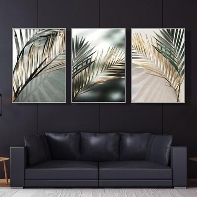 Golden Palm Leaf Canvas Wall Art