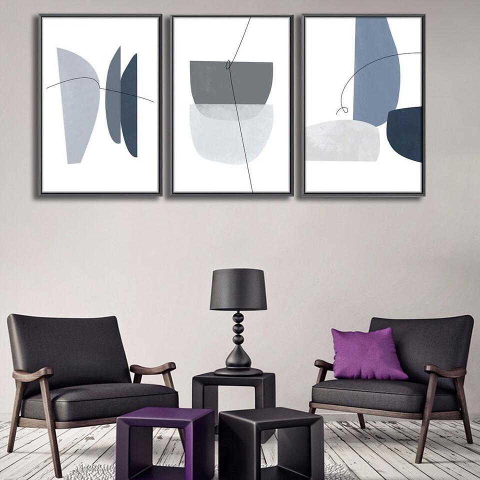 Blue Gray Abstract Canvas Wall Art