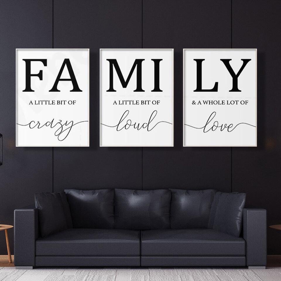 Minimalist Family Writing Canvas Wall Art