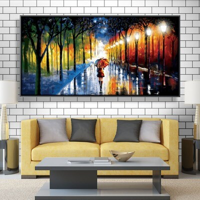 Rainy Stroll Canvas Wall Art