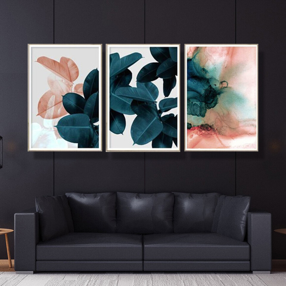Pink Blue Abstract Leaf Canvas Wall Art