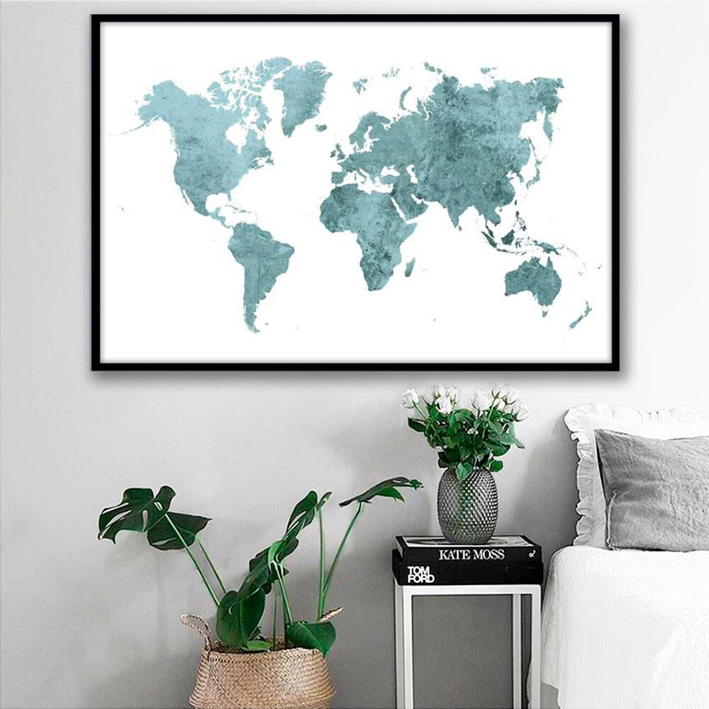 Vibrant World Map Canvas Wall Art