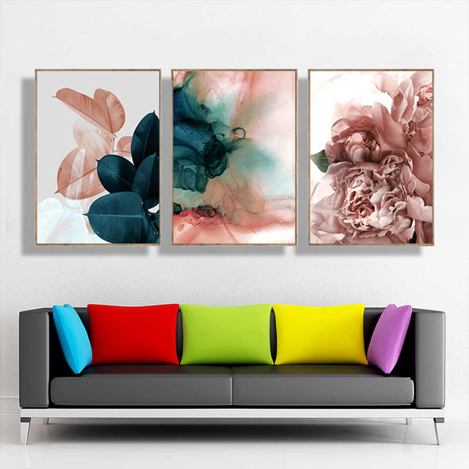 Pink Blue Abstract Art Leaf Canvas Wall Art