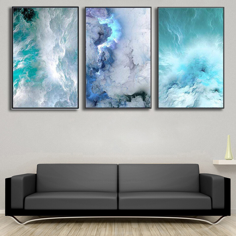 Cloudy Wave Canvas Wall Art
