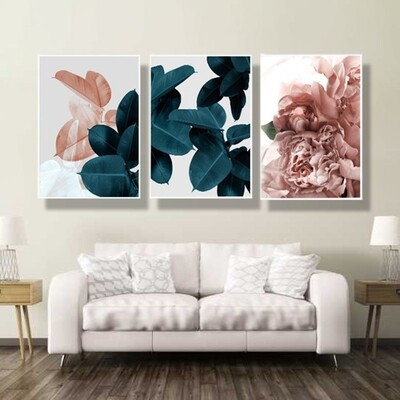 Pink Blue Abstract Art Leaf Poster Canvas Wall Art