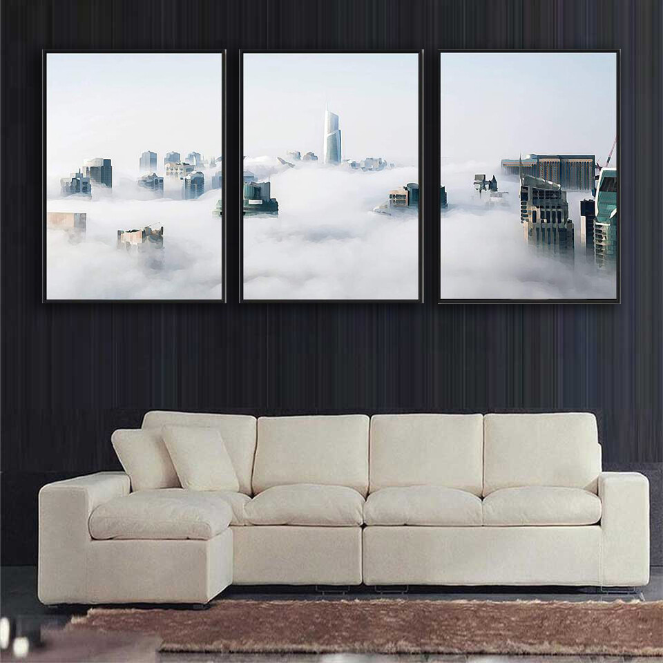 Cloudy City Canvas Wall Art