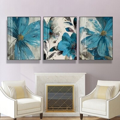 Vintage Blue Flower Painting Canvas Wall Art