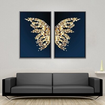 Crystal Butterfly Canvas Wall Art