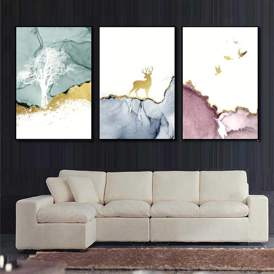 Golden Deer Canvas Wall Art