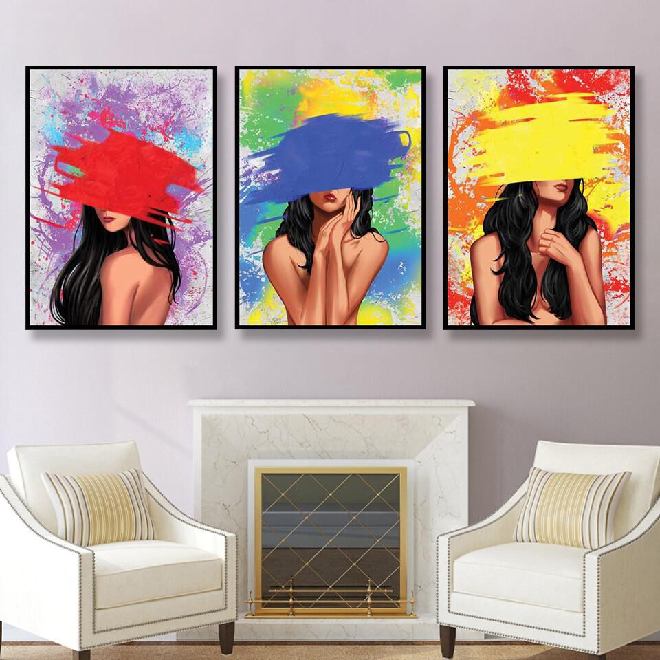 Color Splash Woman Canvas Wall Art