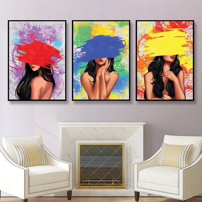 Color Splash Woman Canvas Wall Art