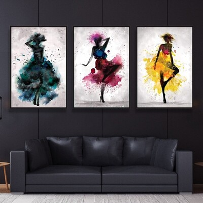 Watercolor Ballerina Canvas Wall Art