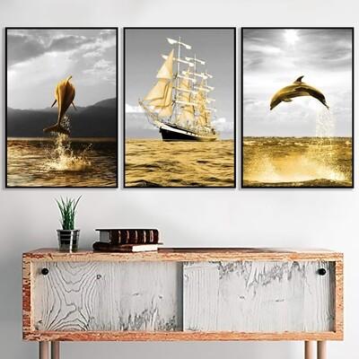 Shining Dolphin Canvas Wall Art