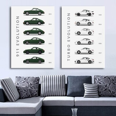 The Evolution Of 911 And Turbo Abstract Canvas Wall Art