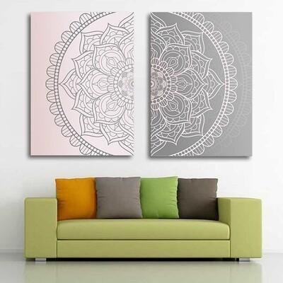 Gradient Pink Gray Mandala Abstract Canvas Wall Art