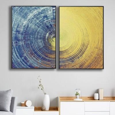 Abstract Blue And Yellow Circles Canvas Wall Art