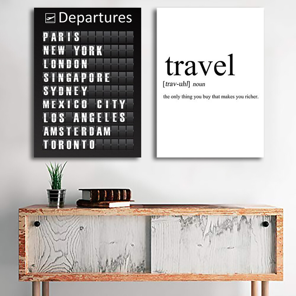Travel City Quotes Canvas Wall Art
