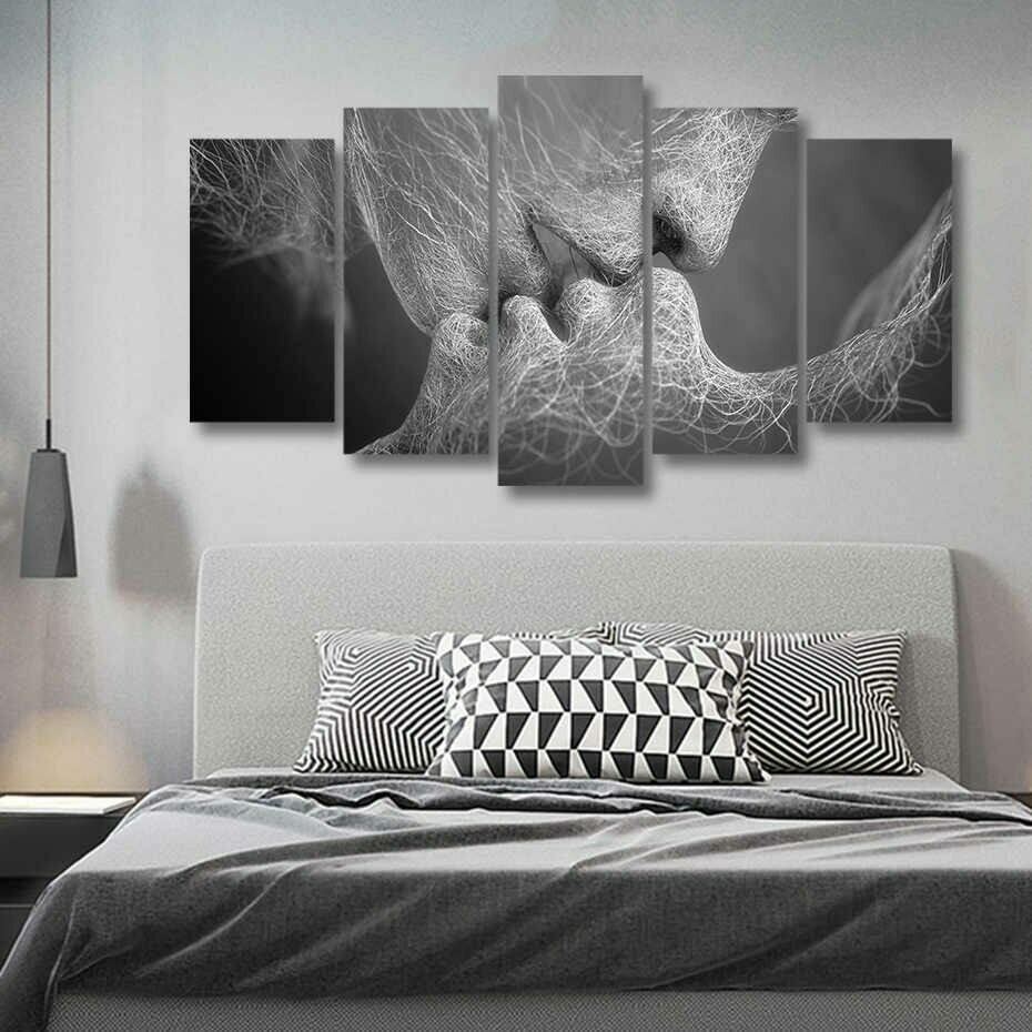Love Kiss - 5 Panel Canvas Print Wall Art Set