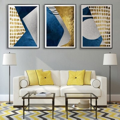 Abstract Blue Gold Moon Geometry Mountain Canvas Wall Art