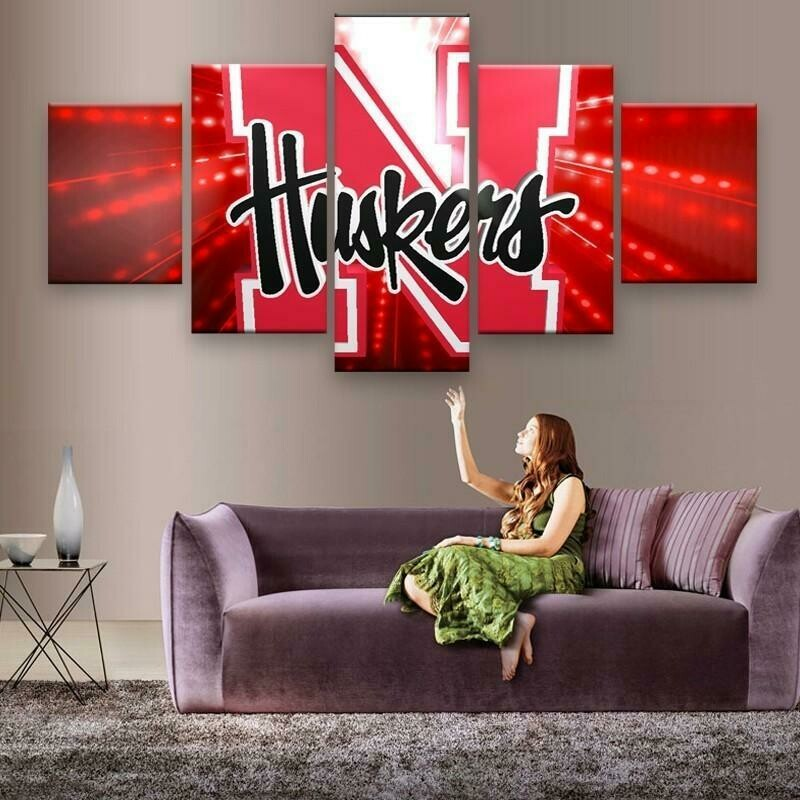 Nebraska Cornhuskers - 5 Panel Canvas Print Wall Art Set