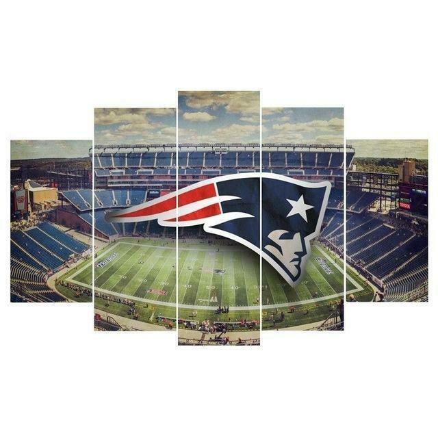 New England Patriots Stadium - 5 Panel Canvas Print Wall Art Set