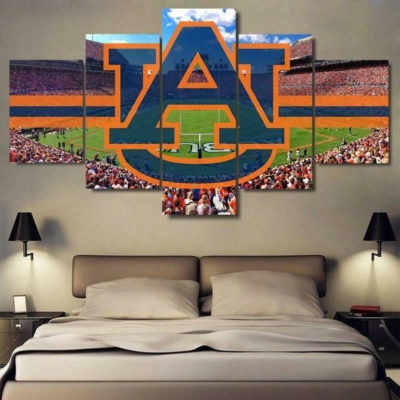 Auburn University College Stadium Sport - 5 Panel Canvas Print Wall Art Set