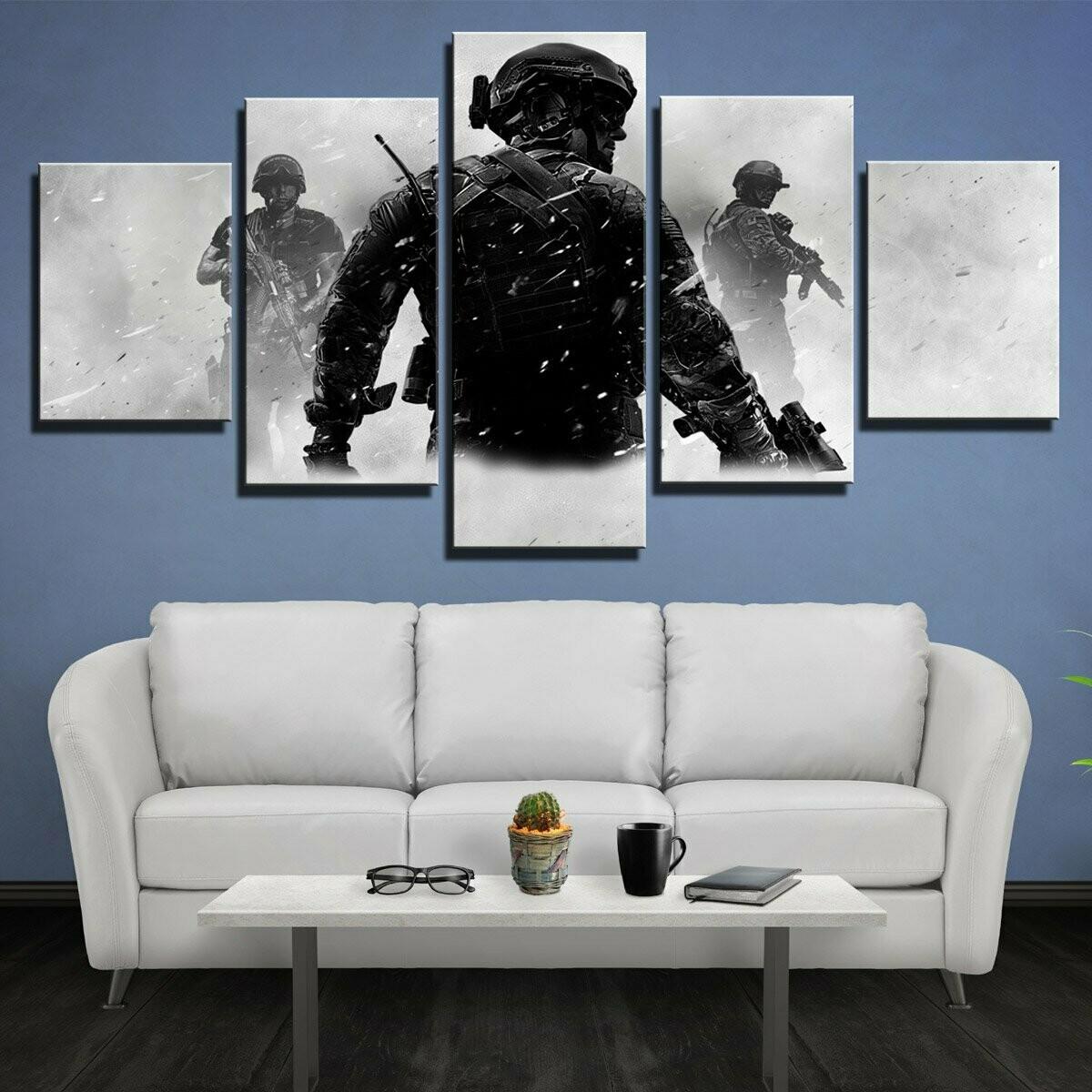 Call Of Duty Modern Warfare - 5 Panel Canvas Print Wall Art Set