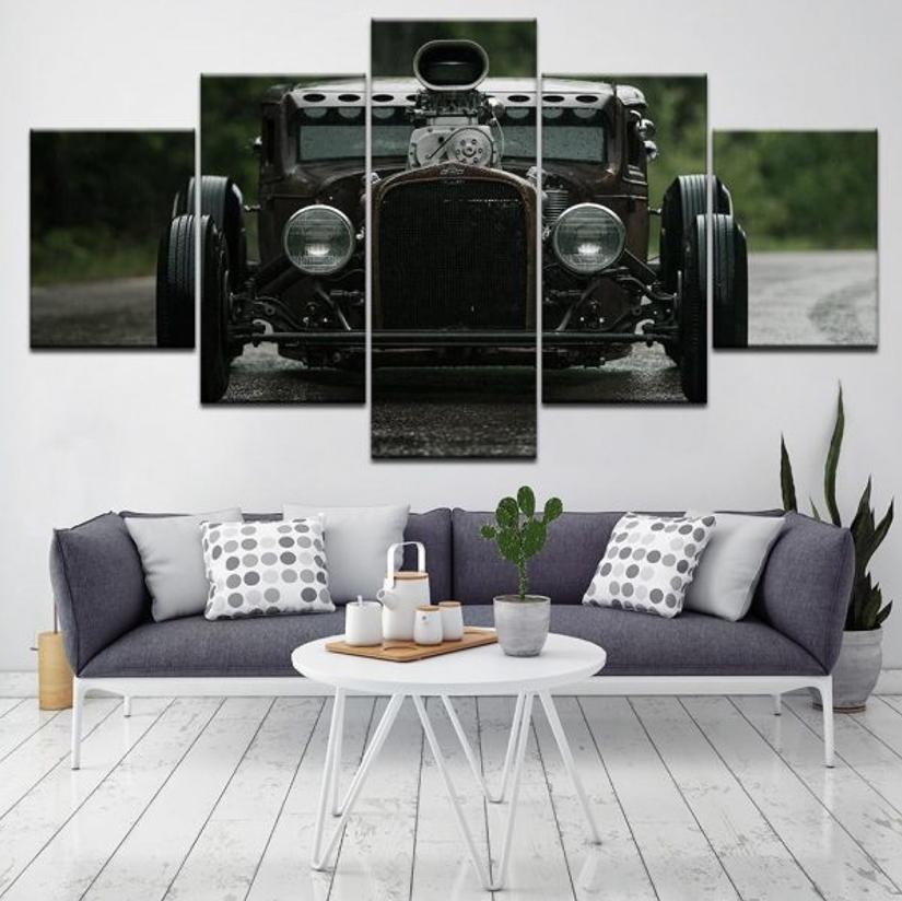 Retro Car - 5 Panel Canvas Print Wall Art Set