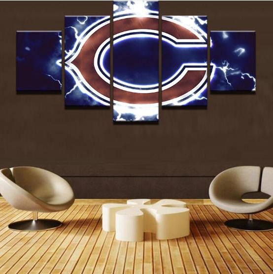 Chicago Bears Football - 5 Panel Canvas Print Wall Art Set
