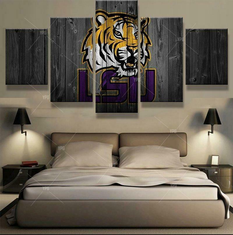 LSU Tigers College Football - 5 Panel Canvas Print Wall Art Set