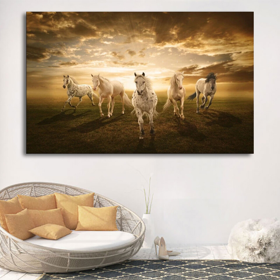 Sunset Light Horses Canvas Wall Art